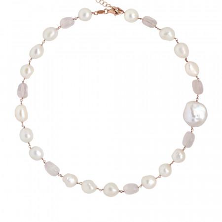 Collana con perle scaramazze e quarzo rosa