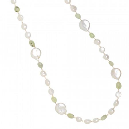 Collana lunga con perle scaramazze e granato verde rutilato