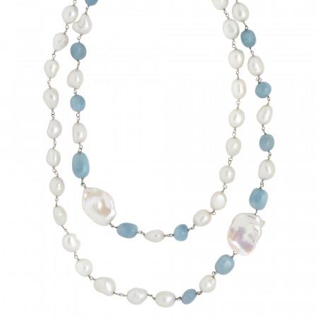 Collana doppio filo con perle scaramazze e acquamarina