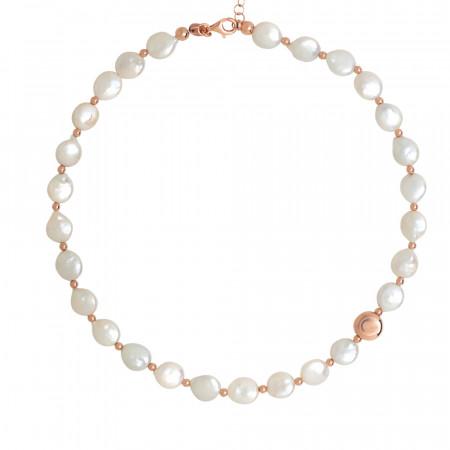 Collana con perle naturali a bottone ed elemento placcato oro rosa