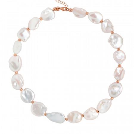 Collana placcata oro rosa con perle keshi