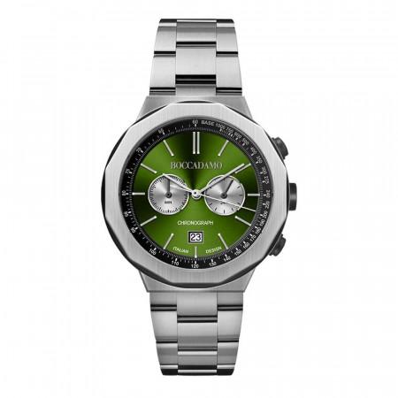 Orologio cronografo con quadrante verde