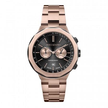 Orologio cronografo placcato oro rosa con quadrante nero