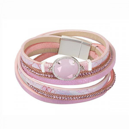 Bracciale multifilo in similpelle rosa