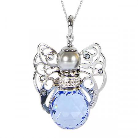 Collana con angelo in Swarovski sapphire