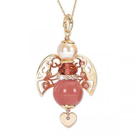 Collana con angelo in quarzo rosa fragola