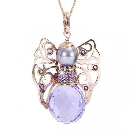 Collana con angelo in Swarovski violet