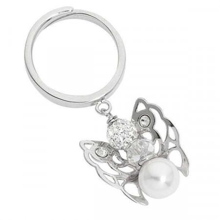 Anello con angelo mini pendente e perla Swarovski finale