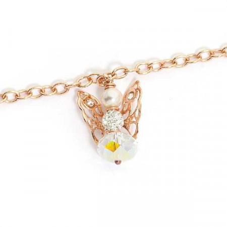 Bracciale rosato con angelo mini pendente