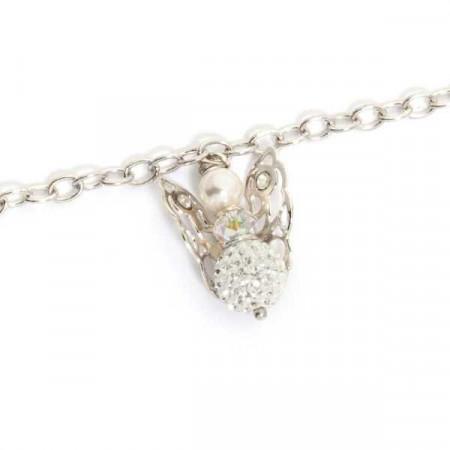 Bracciale con angelo mini pendente e strass finali