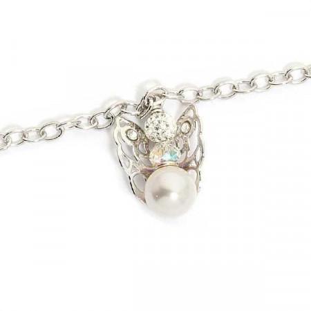Bracciale con angelo mini pendente e perla finale