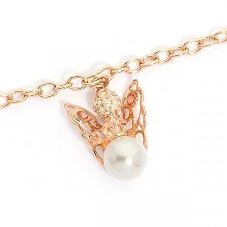Bracciale rosato con angelo mini pendente e perla finale