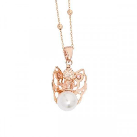 Collana rosata con angelo mini, Swarovski light peach e boule finale