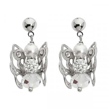 Orecchini con angelo mini pendente e Swarovski boreale