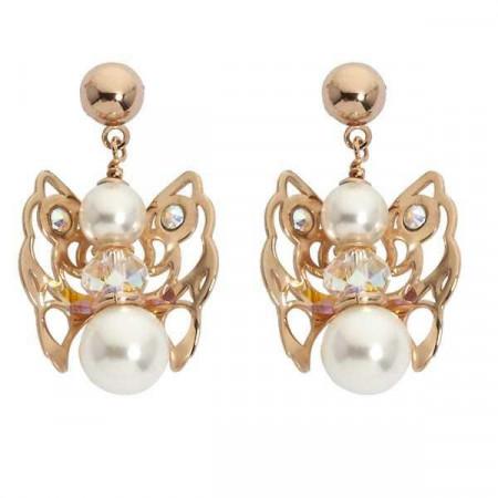 Orecchini rosati con angelo mini pendente, perle  e cristallo Swarovski