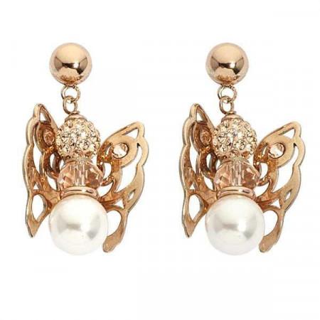 Orecchini rosati con angelo mini pendente, strass, perle  e cristallo Swarovski