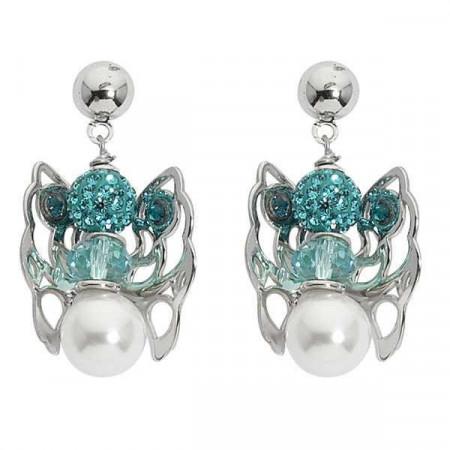 Orecchini con angelo mini pendente, strass, perle  e cristallo Swarovski blu zircon