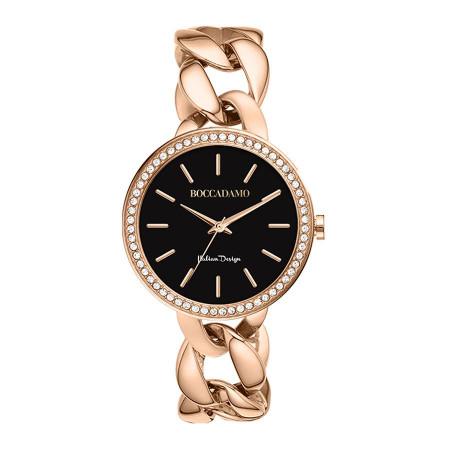 Orologio da polso donna con quadrante nero, Swarovski e bracciale grumetta
