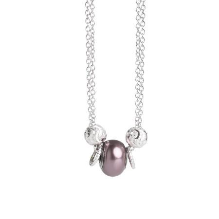 Collana doppio filo con perla Swarovski burgundy