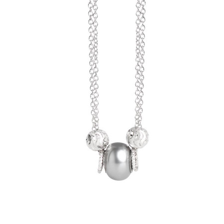 Collana doppio filo con perla Swarovski grey