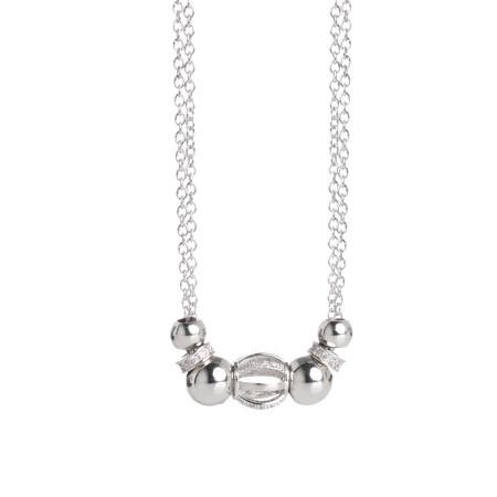 Collana doppio filo con rondelle zirconate e passante centrale di zirconi