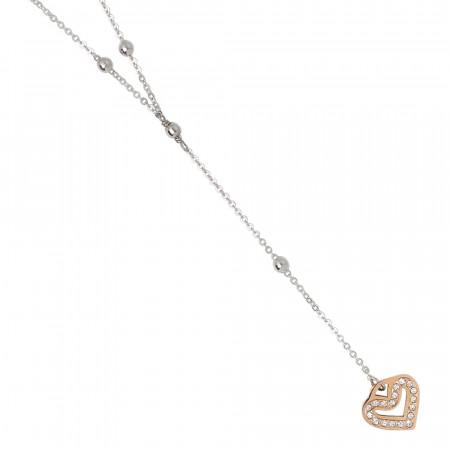 Collana a Y bicolor con cuore pendente e pavè di strass