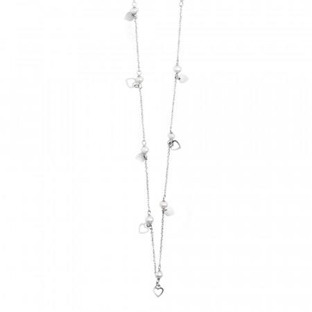 Collana lunga con perle e cuori