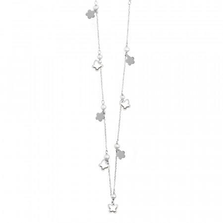 Collana lunga con perle e farfalle e fiori