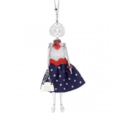 Collana con bambolina, perle e cristalli Swarovski rossi