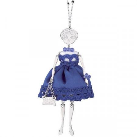 Collana con bambolina e cristalli Swarovski blu elettrico