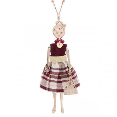 Collana con bambolina e perle Swarovski bordeaux