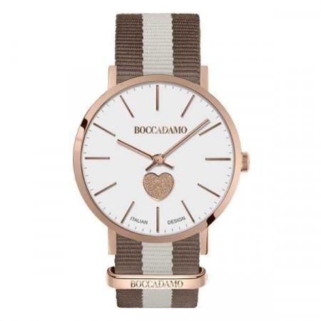 Orologio da donna con con quadrante bianco, cuore glitterato rosa e cinturino in nylon