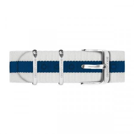 Cinturino in nylon a strisce bianche e blu