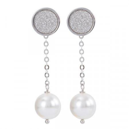 Orecchini intercambiabili con piastra glitterata e perla Swarovski