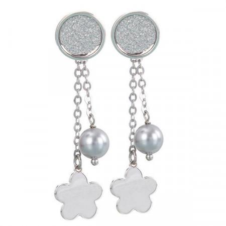 Orecchini intercambiabili con piastra glitterata, perla Swarovski e fiore finale