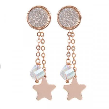 Orecchini intercambiabili con piastra glitterata, cristallo Swarovski e stella finale