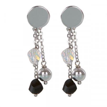 Orecchini intercambiabili con piastra liscia e cristalli Swarovski nero e bianco