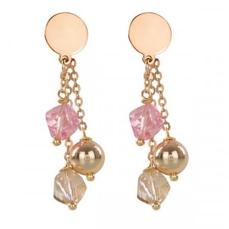 Orecchini intercambiabili con piastra liscia e cristalli Swarovski rosa e golden