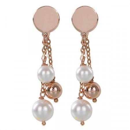 Orecchini intercambiabili placcati oro rosa con piastra liscia e perle Swarovski