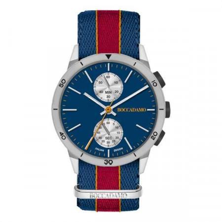 Orologio crono con quadrante blu navy, cassa grigia e cinturino in nylon