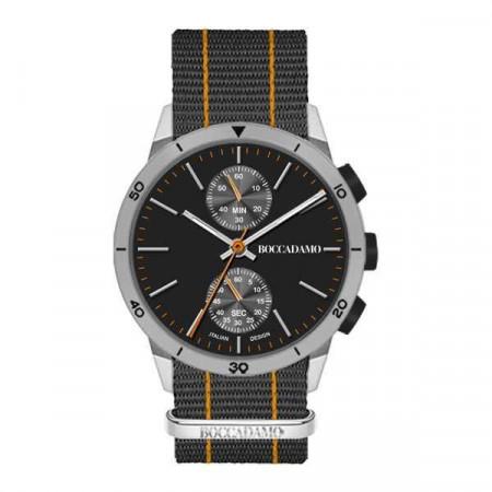 Orologio crono con quadrante nero, cassa grigia e cinturino in nylon