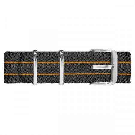 Cinturino in nylon nero ed arancione con fibia silver
