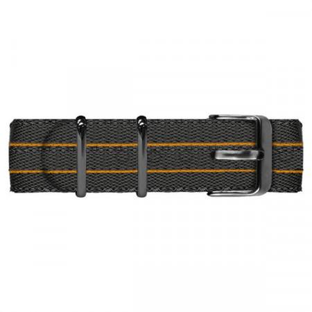Cinturino in nylon nero ed arancione con fibia nera