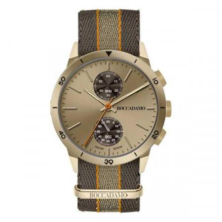 Orologio crono con quadrante e cassa color bronzo e cinturino in nylon