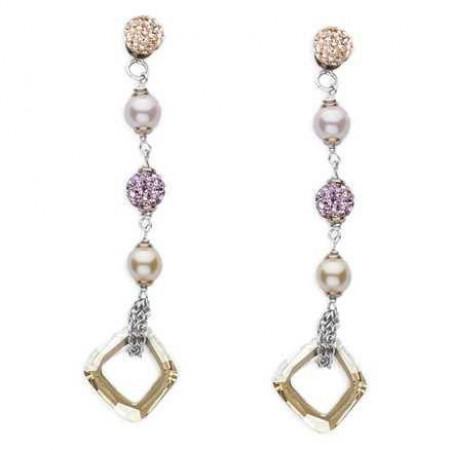 Orecchini pendenti in argento con perle Swarovski
