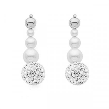 Orecchini pendenti con perle Swarovski e boule di strass