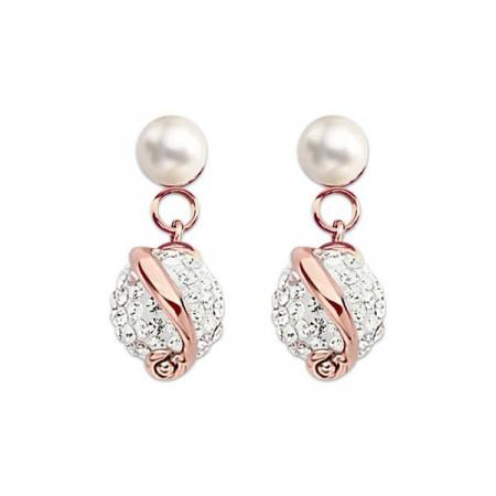Orecchini in argento placcato oro rosa con perla e strass