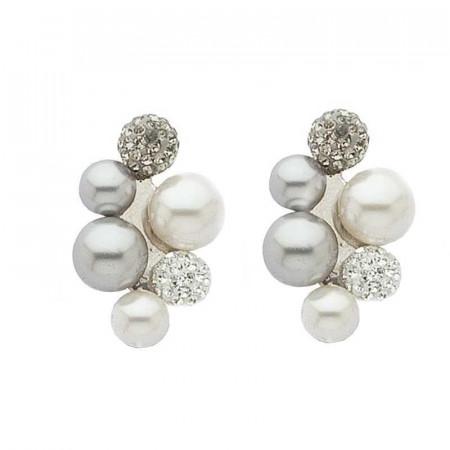 Orecchini in argento con perle bianche e grigie e strass