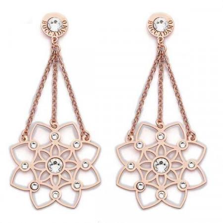 Orecchini in argento rosato con pendente floreale e Swarovski
