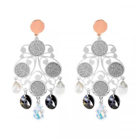 Orecchini chandelier in argento bicolor e Swarovski